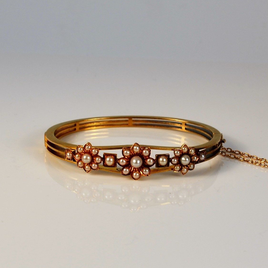 Antique English 15 Carat Gold And Pearl Bangle